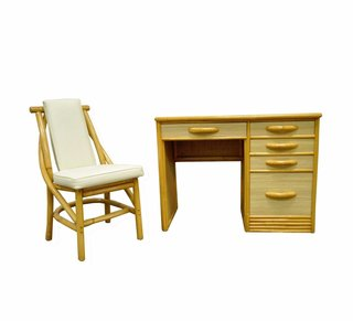 Looking for office furniture with storage and style? This vintage bamboo set by Willow & Reed has it all.