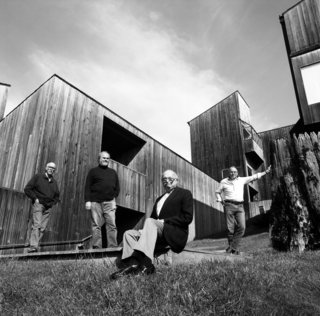 Architects Richard Whitaker, Donlyn Lyndon, Charles Moore, and William Turnbull—the designers of some of the earliest buildings at Sea Ranch—in Condominium #1 courtyard in 1991.