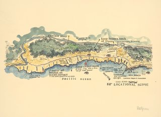 Landscape architect Lawrence Halprin developed the original masterplan for Sea Ranch's 10 miles of coastline along the Pacific. The Locational Score (1981) was a graphic representation of the ideals and principles the community was based on.