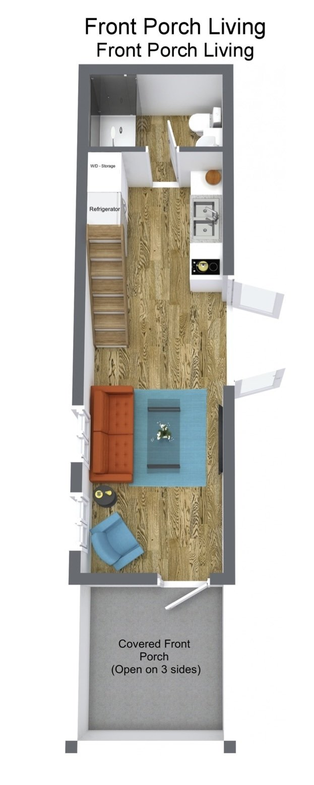 Front Porch Living shipping container home floor plan