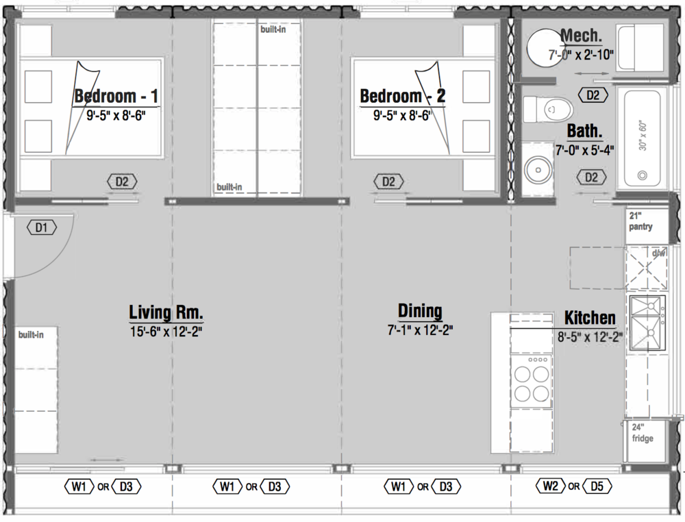 Honomobo H4 shipping container home floor plan