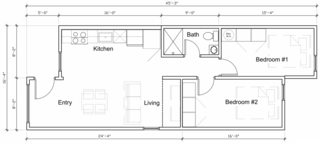 The Model 6 features an offset layout. The main entrance is recessed, and a small hallway leads to the bathroom and two bedrooms. The kitchen is open to the living and dining space.