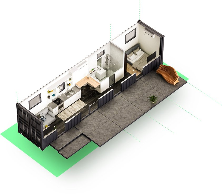 Luckdrops Studio+ shipping container home floor plan