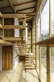The staircase at the rear of the home climbs up along the glass facade, allowing for elevated views of the forest.