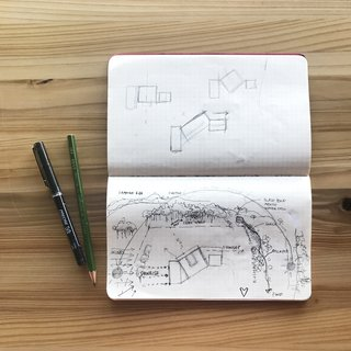 Gen's design approach begins with drawing, sketching, and architectural models; here, a sketch of the site for a new project in Hawaii is explored through freehand sketching.