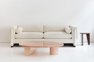 Egg Collective's Isla coffee table with their Howard sofa highlight the company's design aesthetic that marries high-quality materials and craftsmanship with bold, striking forms.