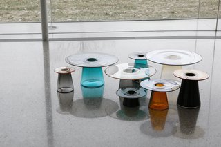 "Cho's series of glass vessels, called Layering Transparency, considers overlapping parts of positive and negative space in different colors and tones. ""The sculptural forms invite people to interact with the objects in an inventive and personal way,"" she says."