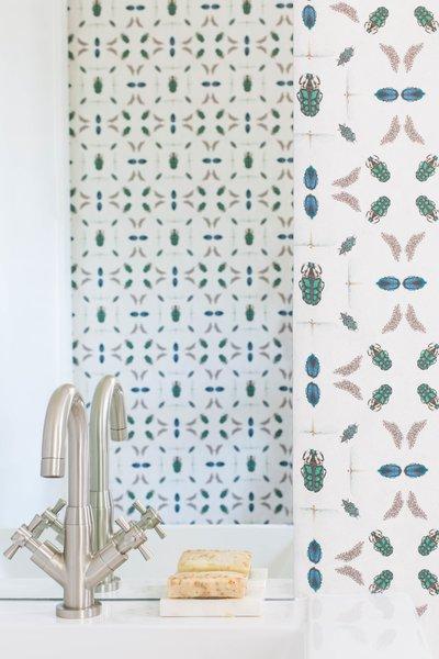 "Jennifer Shorto ""Emeralds"" wallpaper was used for the powder bath."