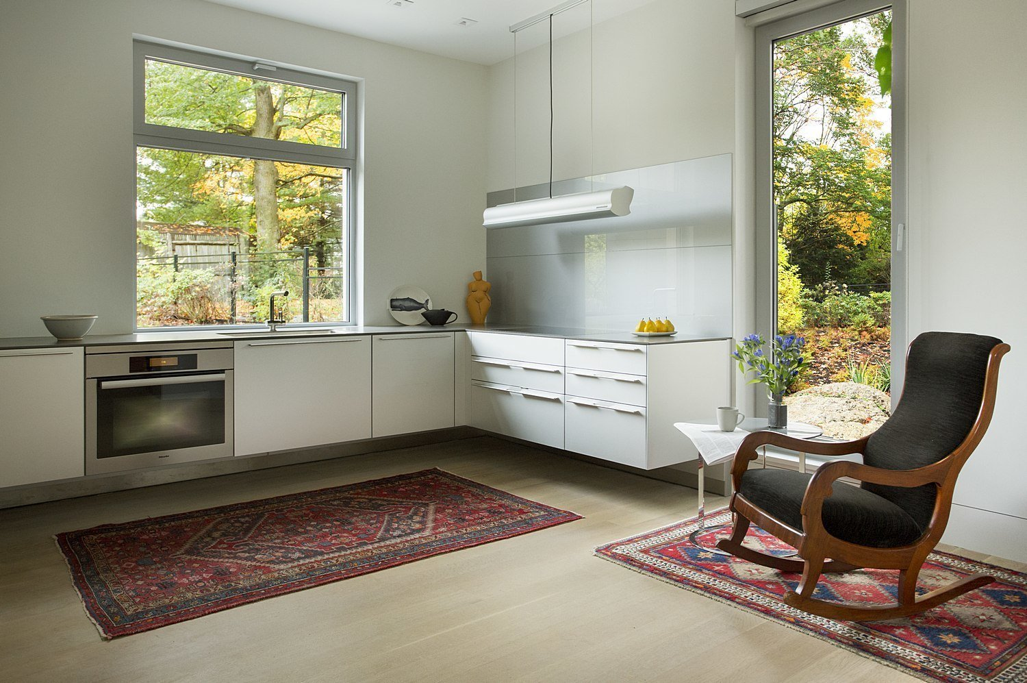 Kitchen and White Cabinet  Brookline Residence by ZeroEnergy Design