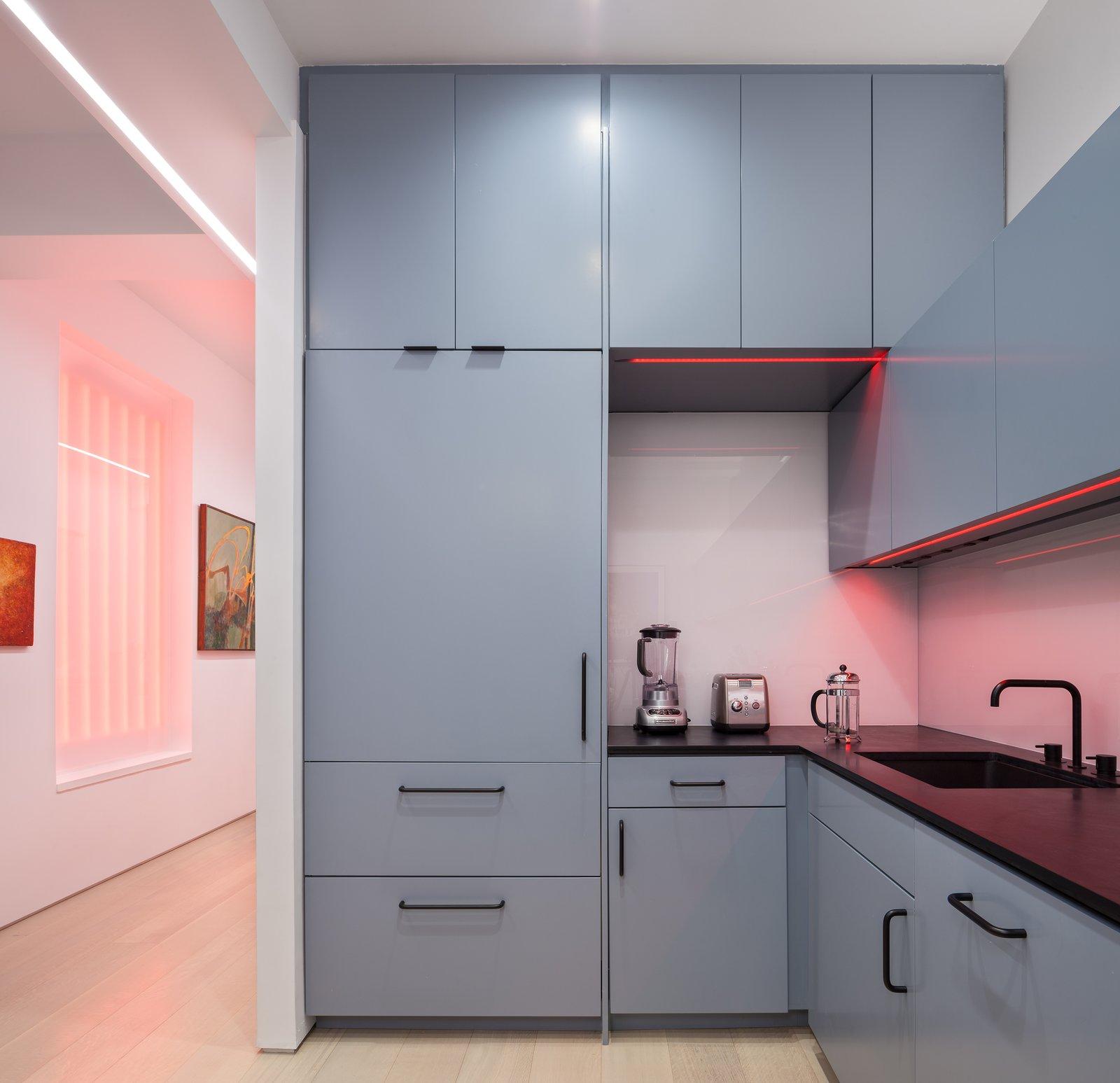 Kitchen, Colorful Cabinet, Ceiling Lighting, Light Hardwood Floor, Recessed Lighting, Accent Lighting, Refrigerator, Dishwasher, and Undermount Sink  Best Photos