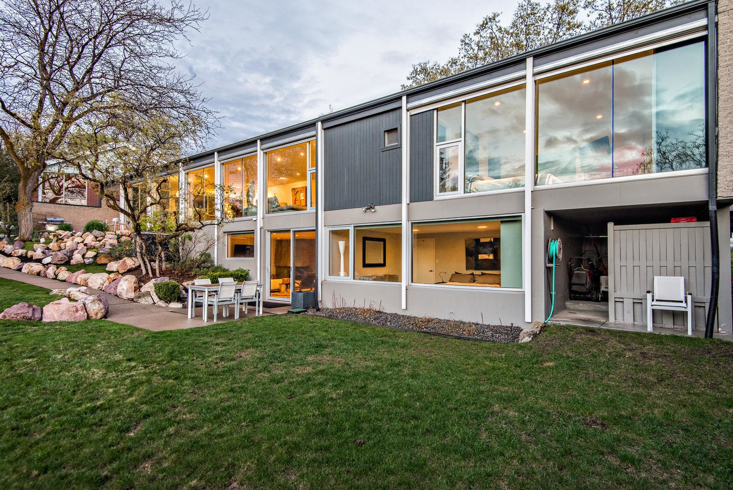 Exterior, Flat RoofLine, Wood Siding Material, Glass Siding Material, and Mid-Century Building Type Back   An Eduard Dreier Home asked $1.2M