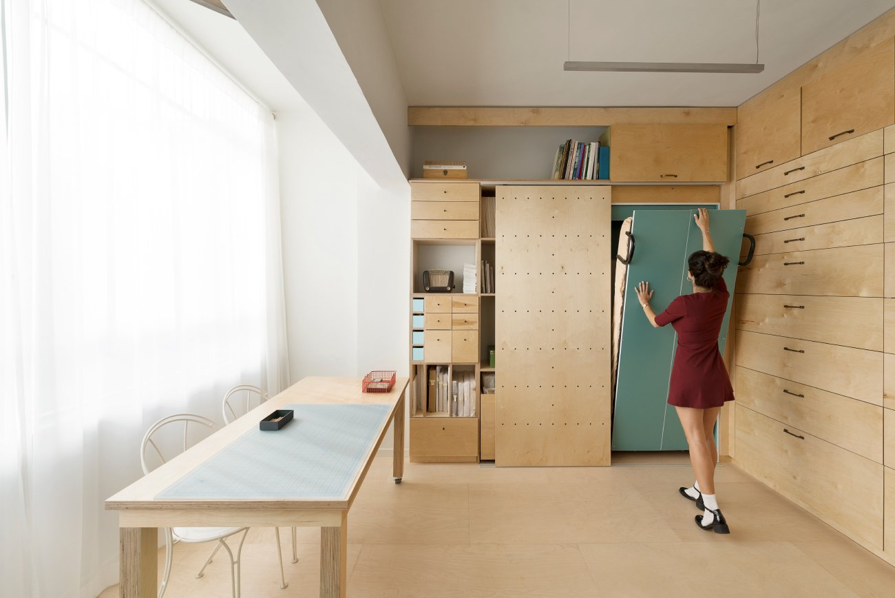 Shed & Studio and Storage Space Room Type The modular shoveled and drawers were designed into four separate categories based on the measurement of each object.  Photo 6 of 11 in 10 Space-Saving Interiors For Multifunctional Living