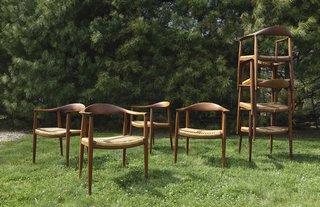 "Hans J. Wegner, Eight ""Round"" Chairs Model No. JH501, Estimate $20,000–$30,000"