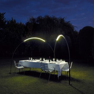 Jordi Vilardell and Meritxell Vidal designed this lighting structure to subtly light the perfect environment for evening dining in the garden.