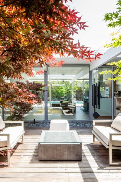 Outdoor, Small Patio, Porch, Deck, Hardscapes, Trees, and Wood Patio, Porch, Deck  Photo 6 of 11 in An Interior Designer Launches Her Career by Renovating Her Family's Midcentury Eichler