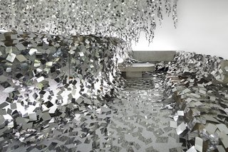 At a Japanese Flower Art School, Nendo Drapes an Ivy of Mirrors Over a Stone Garden by Isamu Noguchi - Photo 2 of 9 -