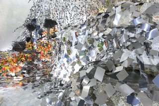 At a Japanese Flower Art School, Nendo Drapes an Ivy of Mirrors Over a Stone Garden by Isamu Noguchi - Photo 4 of 9 -