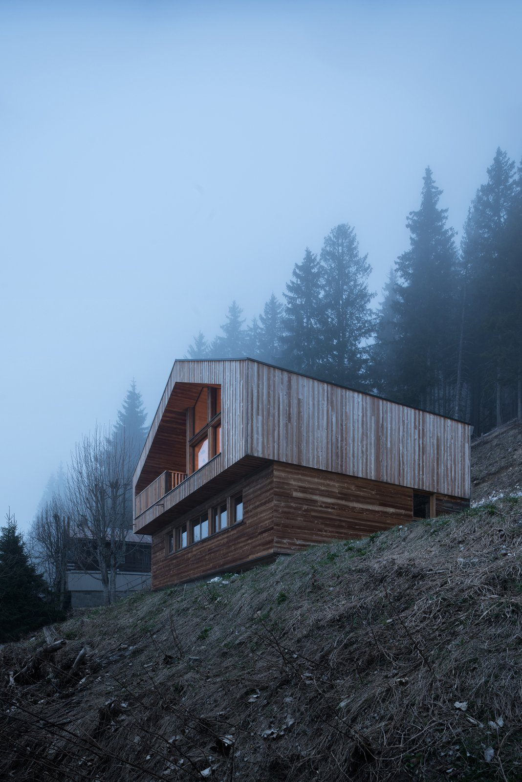 Exterior, Cabin Building Type, House Building Type, Wood Siding Material, and Gable RoofLine  Mountain House