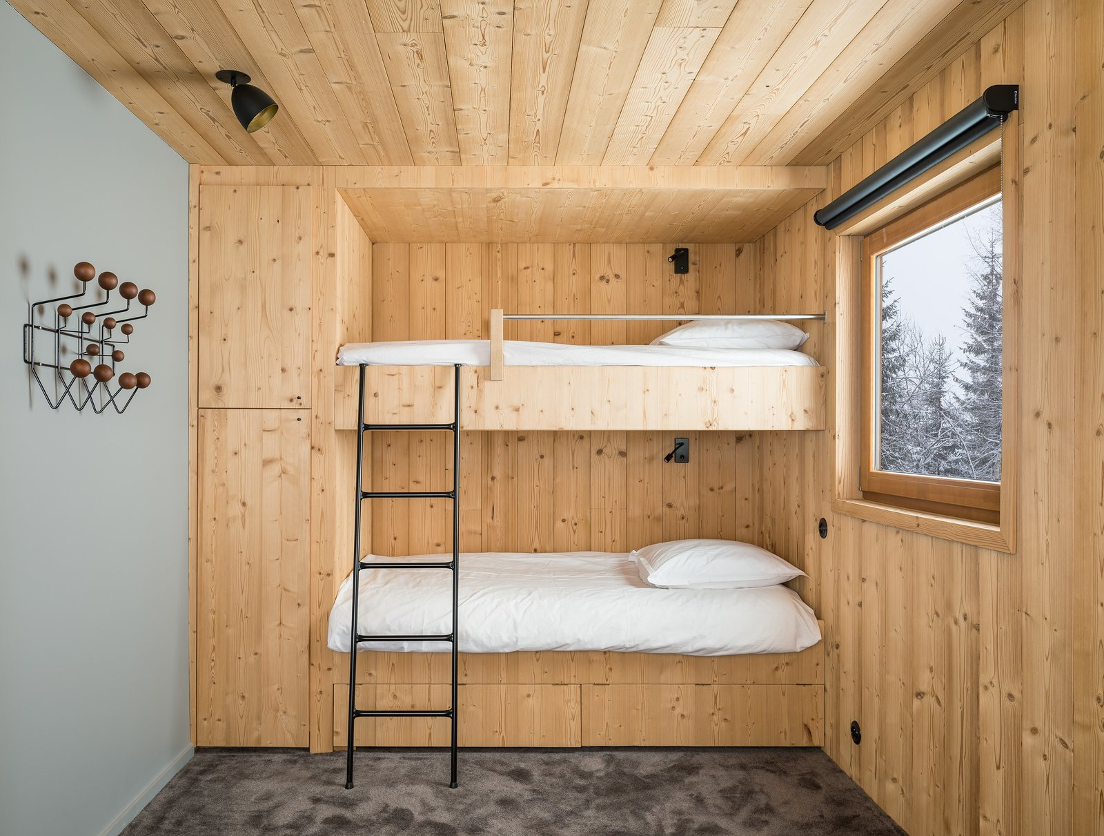 Bedroom, Bunks, Ceiling Lighting, Wardrobe, and Carpet Floor  Photos from Mountain House