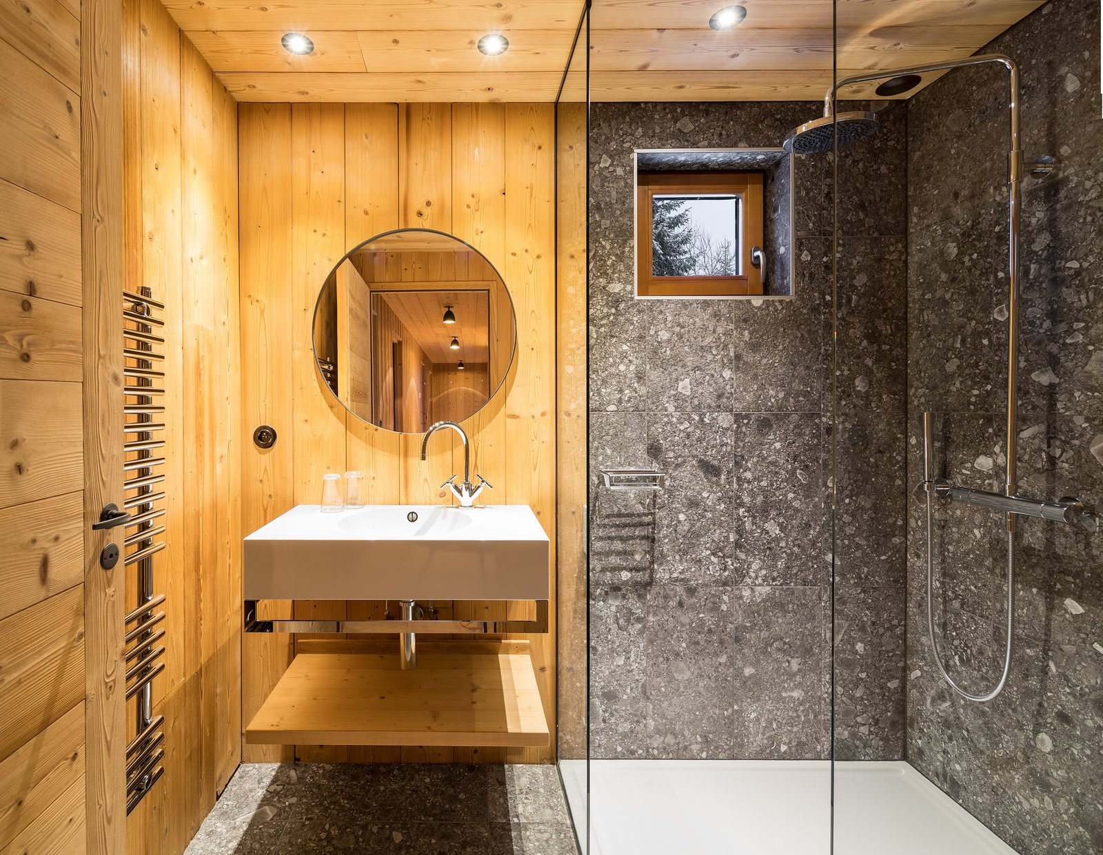 Bath Room, Wall Mount Sink, Ceramic Tile Wall, Ceramic Tile Floor, and Recessed Lighting  Mountain House