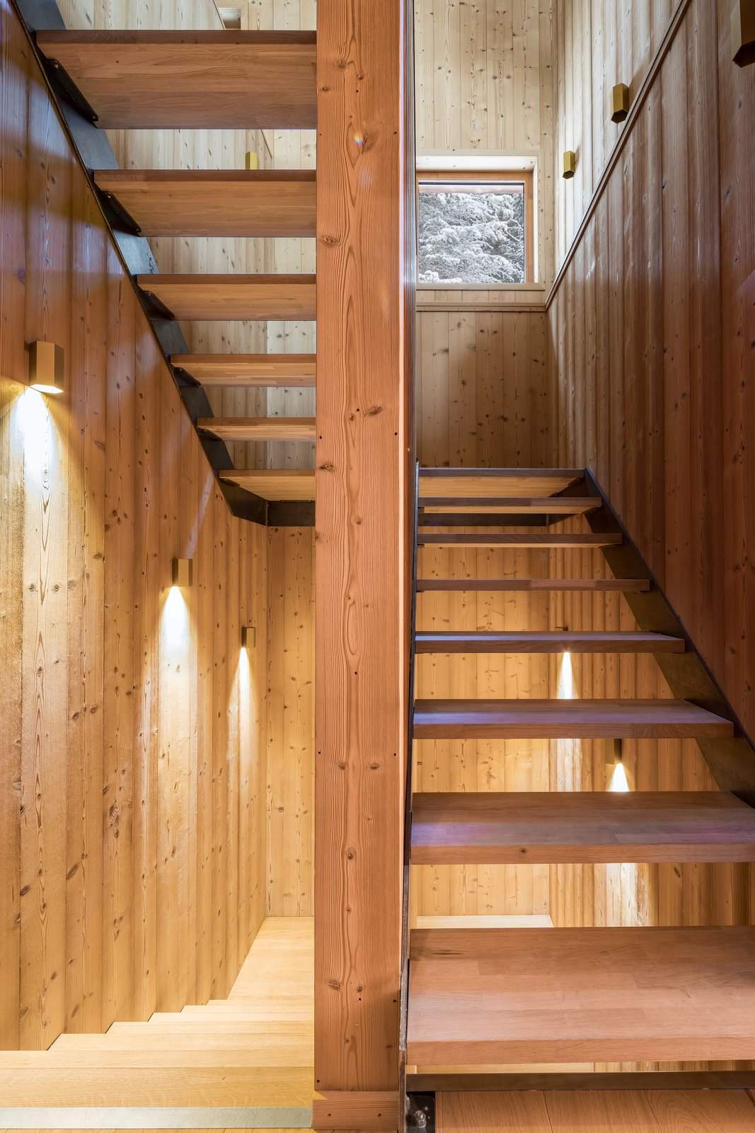 Staircase, Wood Tread, and Wood Railing  Mountain House