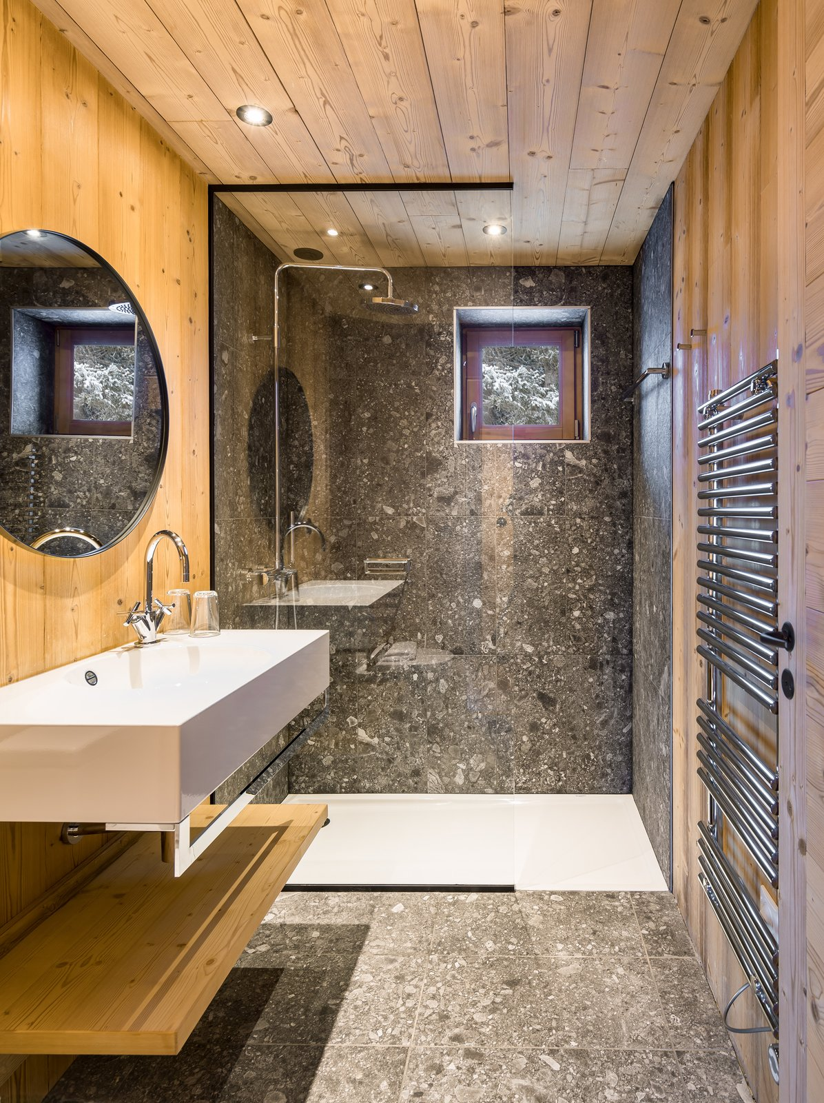Bath Room, Terrazzo Floor, Vessel Sink, and Wall Mount Sink  Mountain House