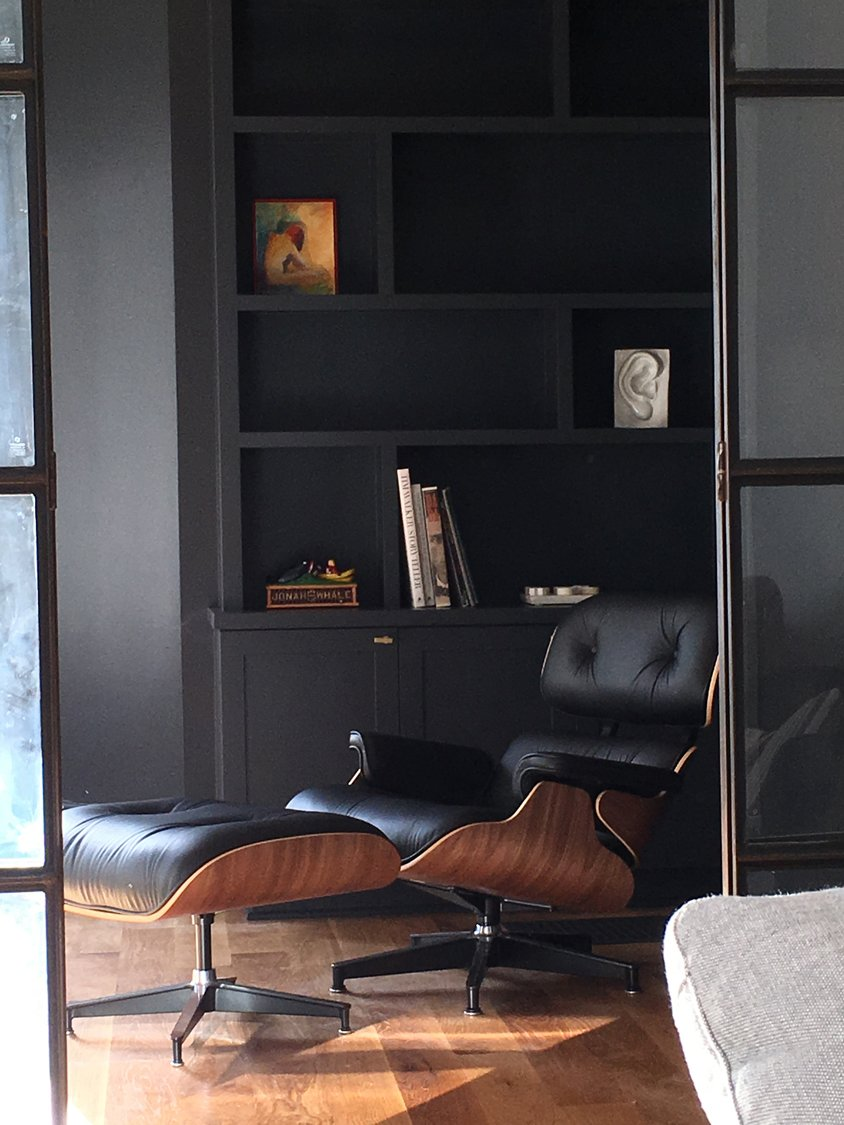 Office, Chair, Study Room Type, Bookcase, Shelves, and Medium Hardwood Floor  Photos from Columbine Residence