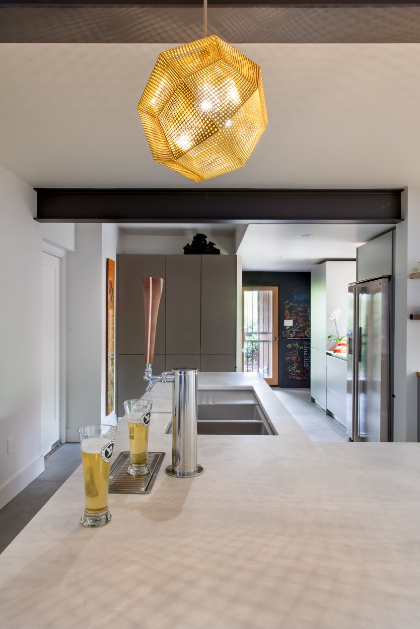 Kitchen, Laminate, Engineered Quartz, Concrete, Pendant, and Undermount  Kitchen Laminate Engineered Quartz Pendant Photos from Ash Residence