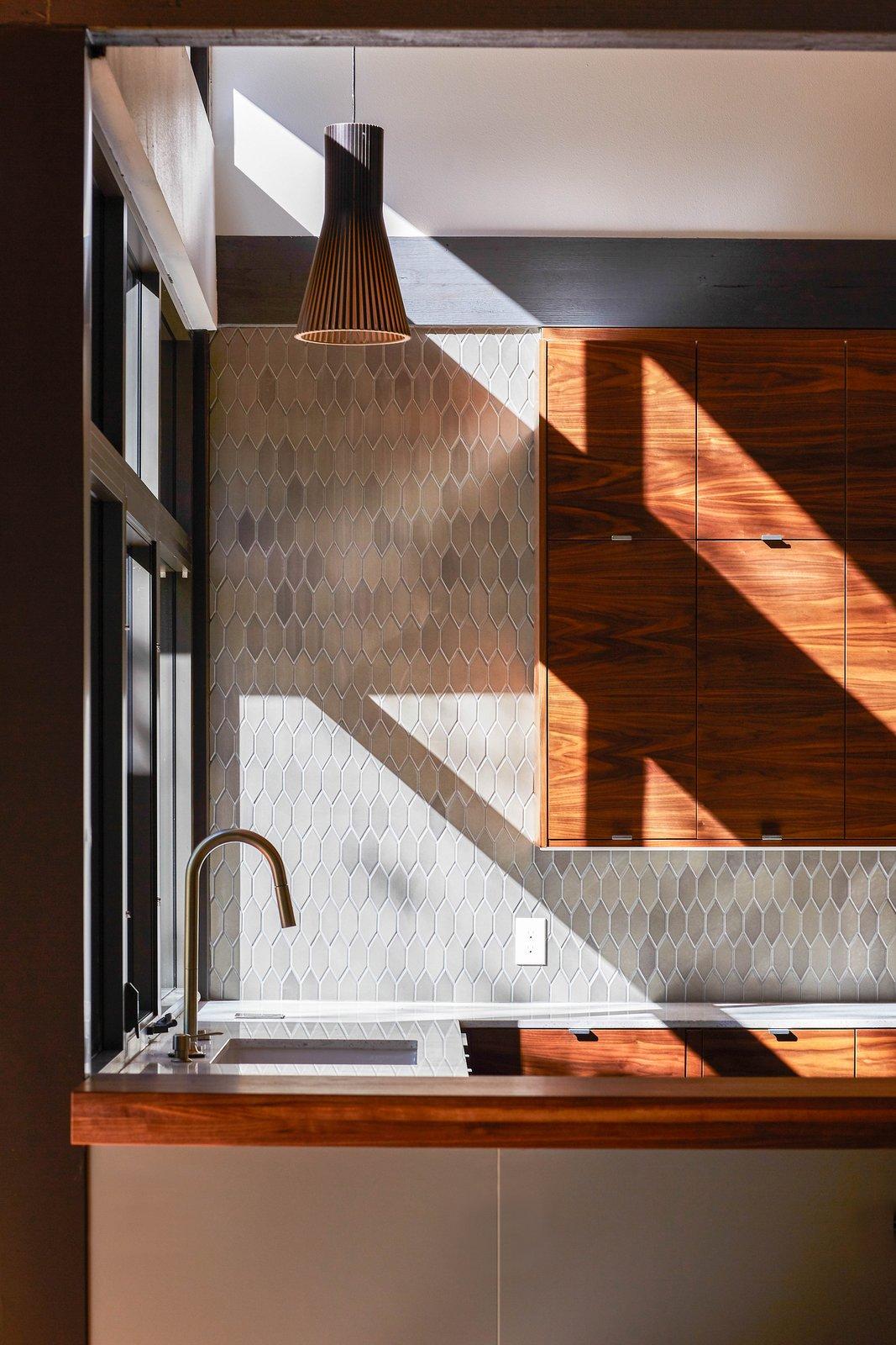 Kitchen, Undermount, Wood, Engineered Quartz, Wood, Ceramic Tile, Light Hardwood, and Pendant  Best Kitchen Wood Wood Undermount Pendant Light Hardwood Photos from House  //  TW