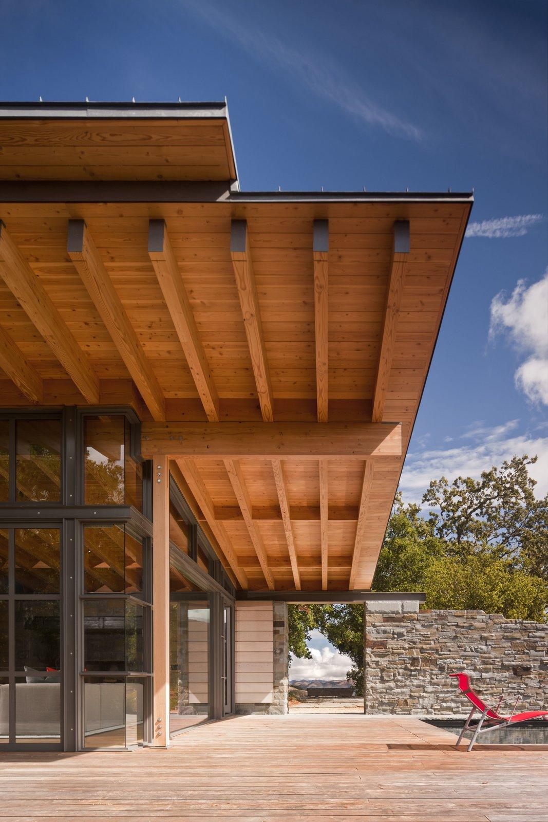 Outdoor, Large Patio, Porch, Deck, Wood Patio, Porch, Deck, and Stone Fences, Wall  Halls Ridge Knoll by Bohlin Cywinski Jackson