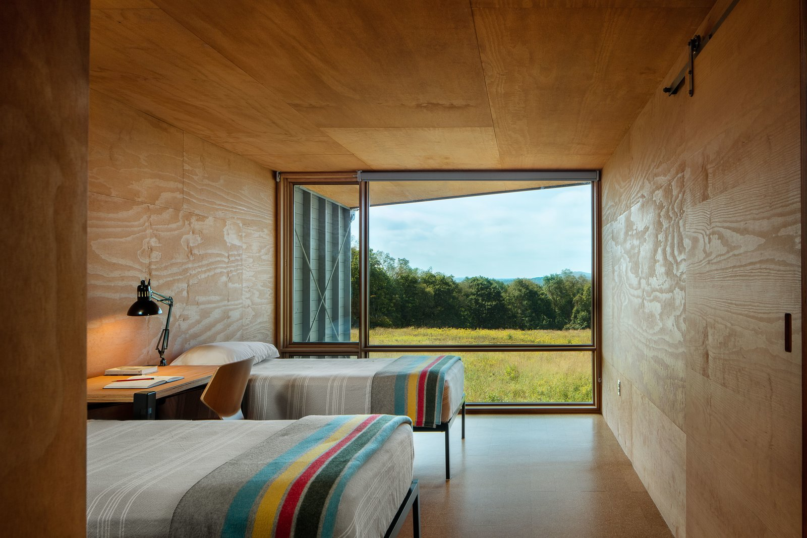 Bedroom, Bed, Lamps, and Chair  Small footprint from High Meadow at Fallingwater