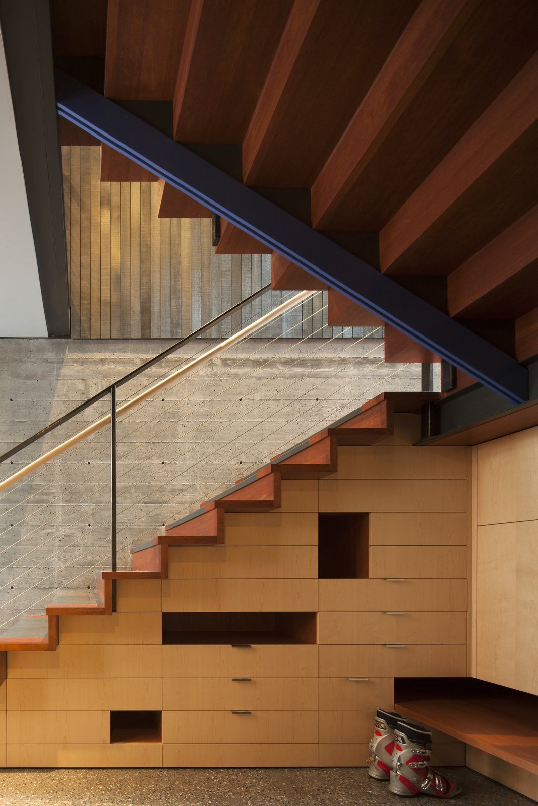 Tagged: Staircase, Metal Tread, and Wood Tread.  Kicking Horse Residence by Bohlin Cywinski Jackson