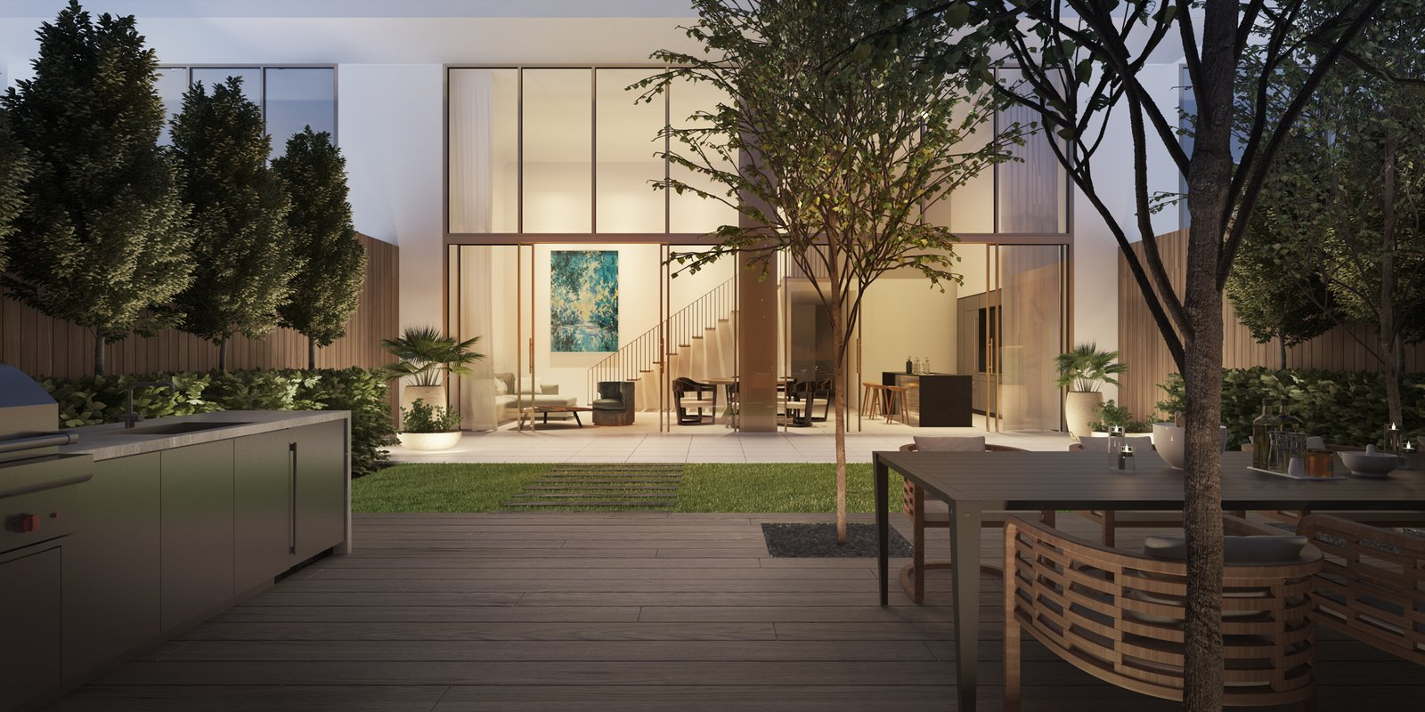 Garden view of Three Hundred Collins, which Hansen designed as a minimalist sanctuary for residents of Miami's South Beach.  Photo 2 of 6 in Danish-Modern Master Thomas Juul-Hansen Talks About Timeless Design