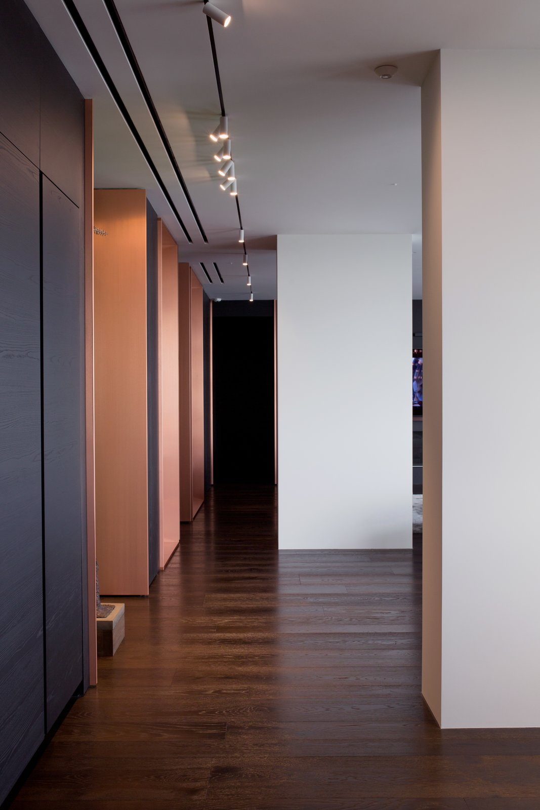 Hallway and Dark Hardwood Floor  Photo 6 of 13 in A Family's Kiev Apartment Is Filled With Copper, Marble, and a Sophisticated Palette