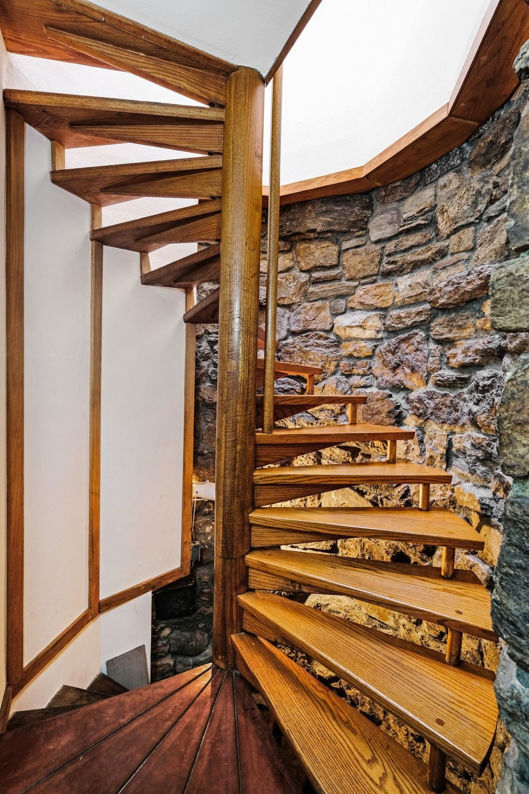 Staircase and Wood Tread  Photo 6 of 10 in A Usonian Masterpiece by Frank Lloyd Wright Is on the Market For $1.5M