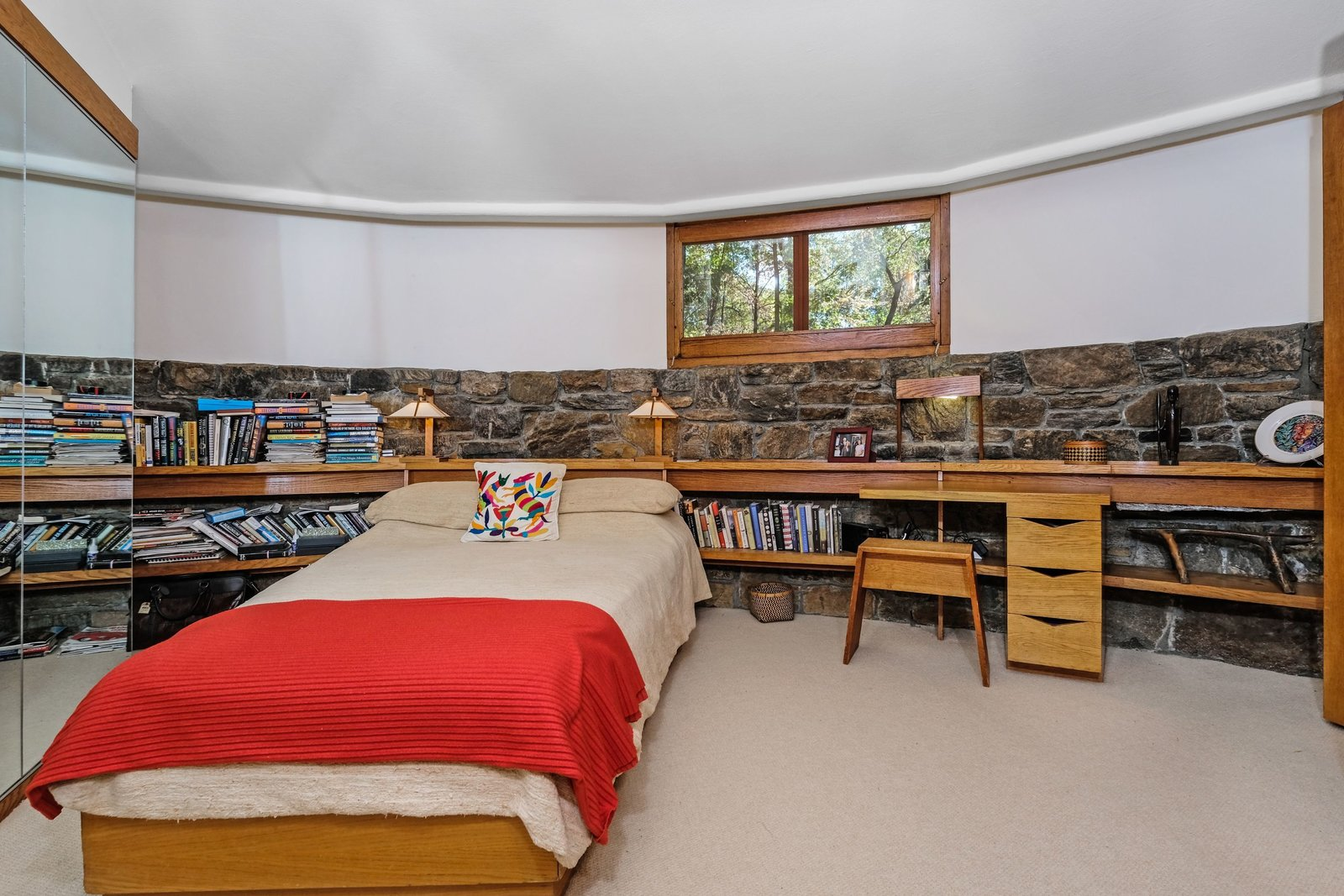 Bedroom, Bed, Shelves, Storage, Table, Bookcase, Bench, and Night Stands  Best Bedroom Bench Shelves Bookcase Night Stands Table Storage Photos from A Usonian Masterpiece by Frank Lloyd Wright Is on the Market For $1.5M