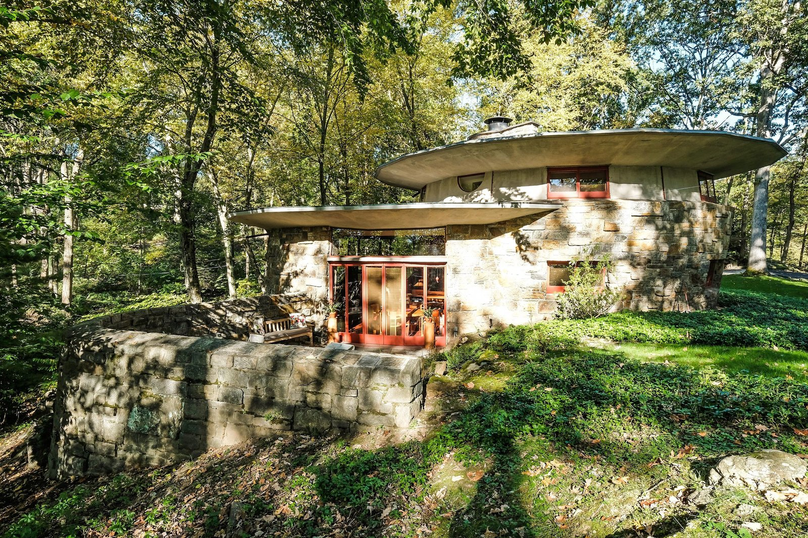 Exterior, House Building Type, and Stone Siding Material  Photo 8 of 10 in A Usonian Masterpiece by Frank Lloyd Wright Is on the Market For $1.5M
