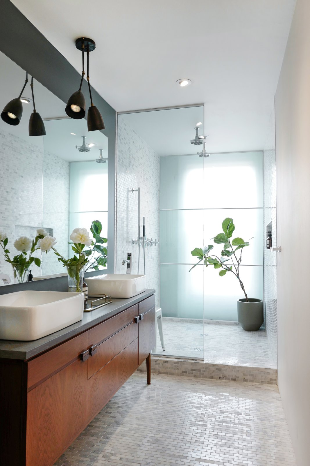 Bath Room, Vessel Sink, Open Shower, Ceiling Lighting, and Recessed Lighting  Photo 11 of 16 in A Design Duo's 19th-Century Brooklyn Townhouse Is Filled With Art They Love