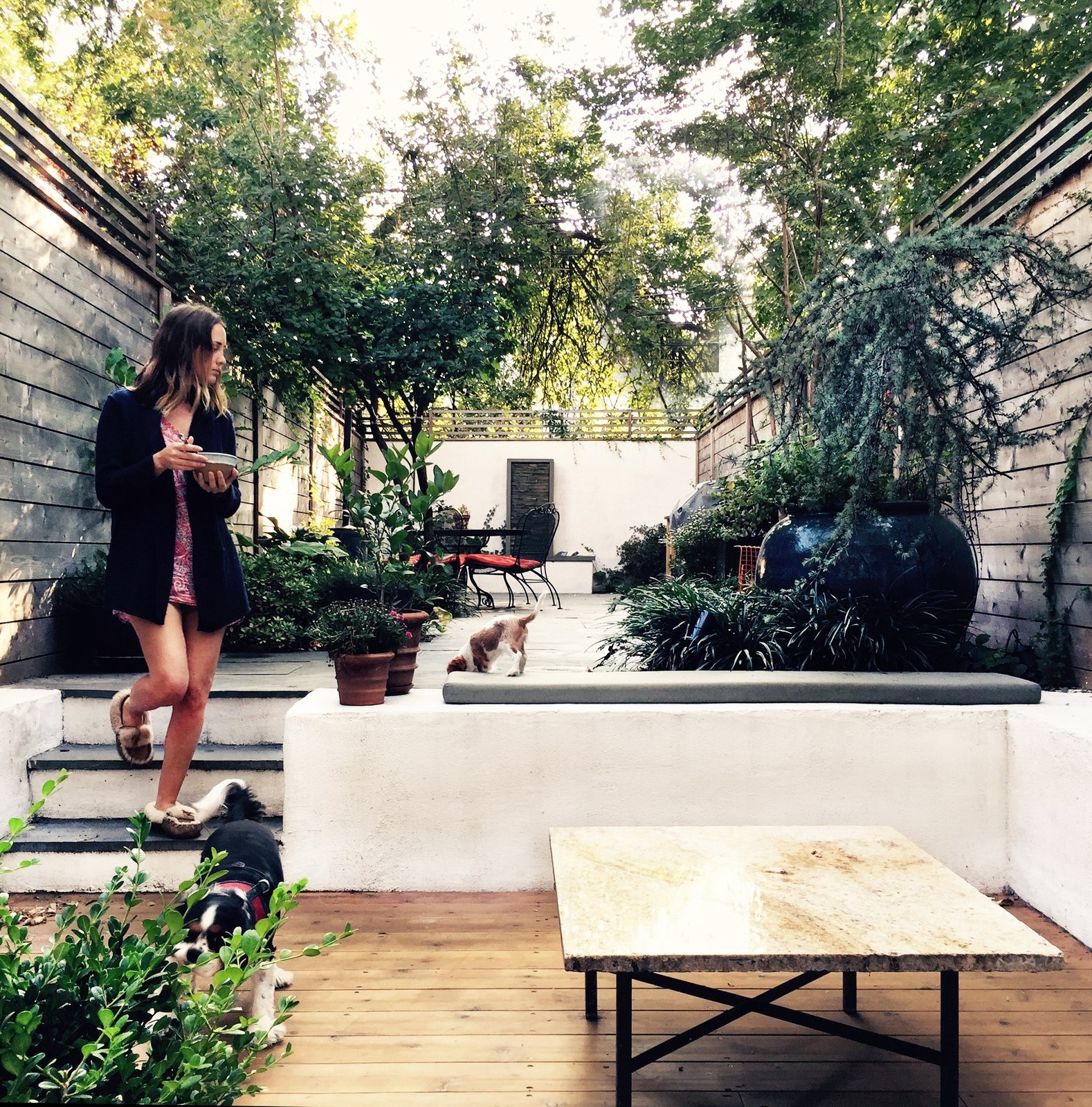 Outdoor, Raised Planters, Wood Patio, Porch, Deck, Trees, and Back Yard  Photo 16 of 16 in A Design Duo's 19th-Century Brooklyn Townhouse Is Filled With Art They Love