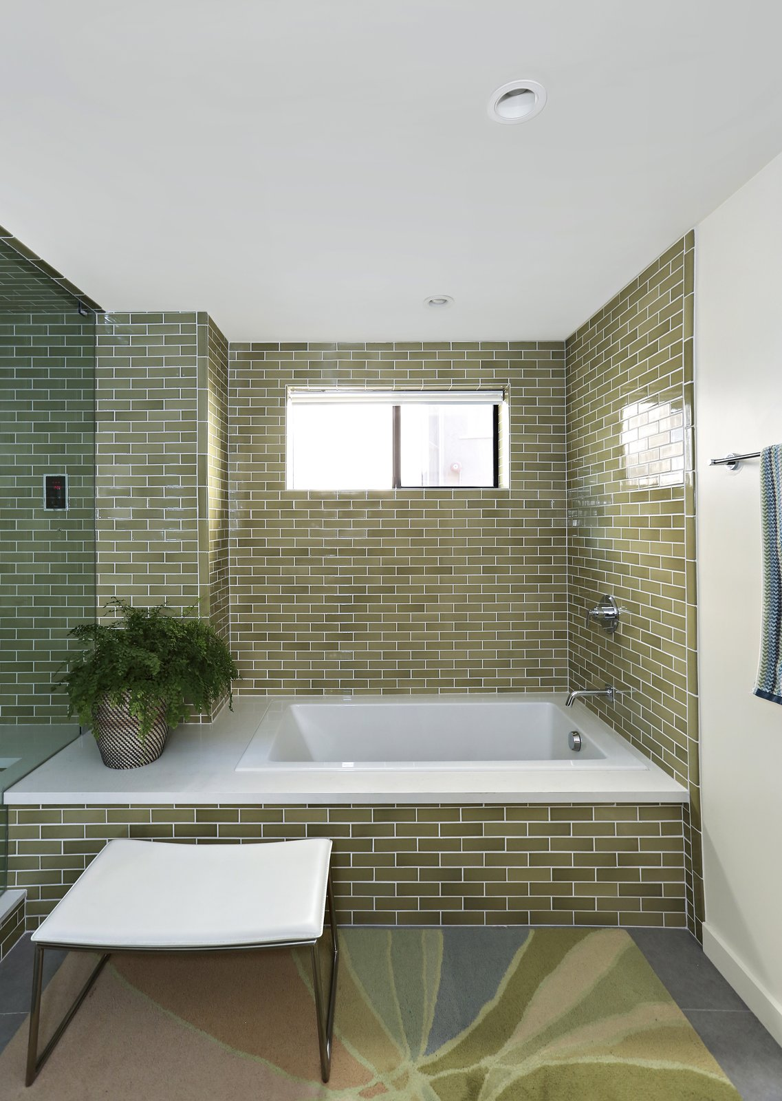 Bath, Rug, Recessed, Subway Tile, and Soaking  Best Bath Rug Recessed Photos from A Silver Lake Home Built in 1939 Is Renovated From Top to Bottom