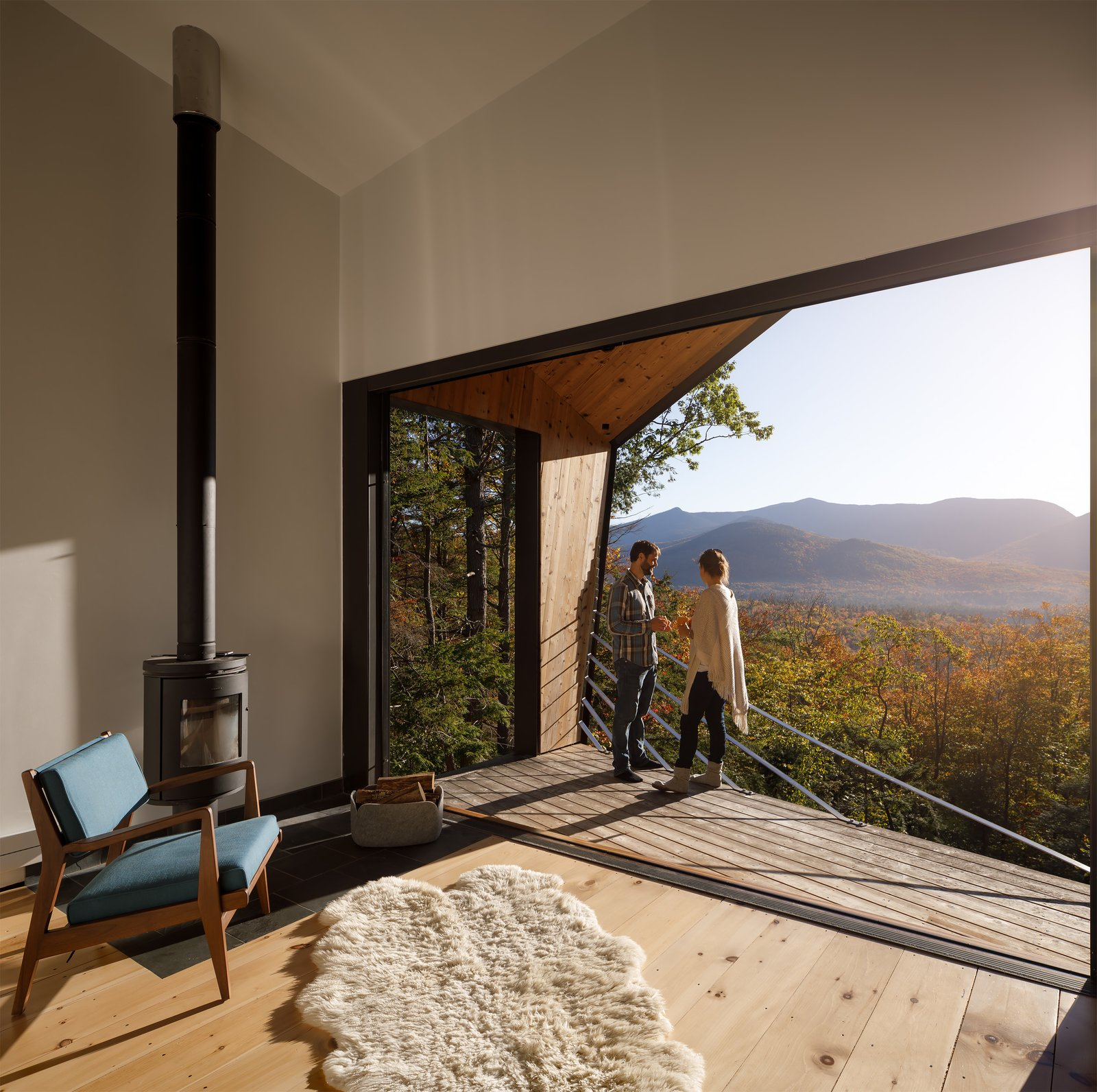 Doors, Sliding Door Type, Exterior, and Metal  Photo 7 of 18 in A Prefab Cabin in New Hampshire Is a Magnificent Mountain Retreat