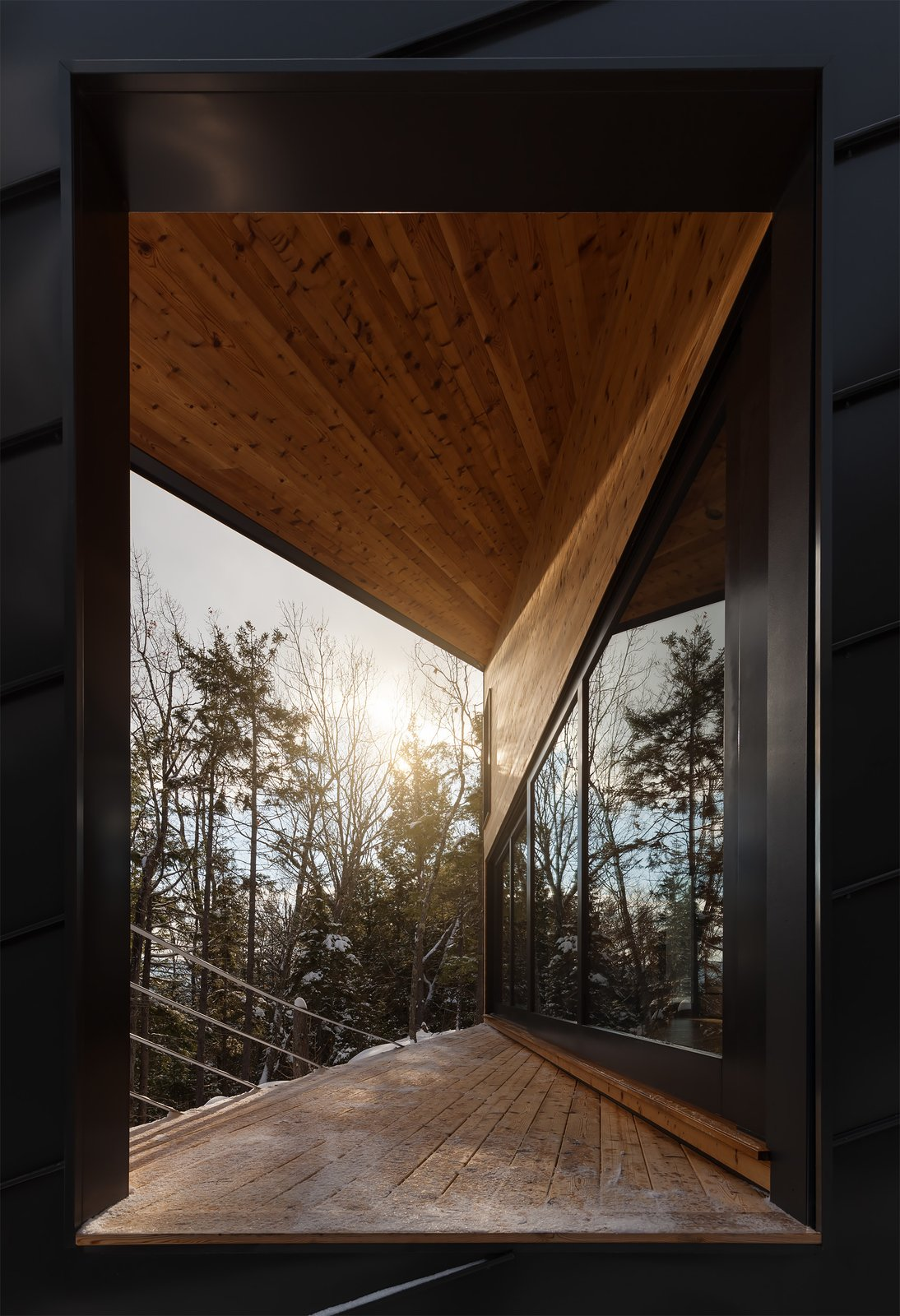 Outdoor, Metal, Trees, Woodland, and Wood  Best Outdoor Metal Woodland Photos from A Prefab Cabin in New Hampshire Is a Magnificent Mountain Retreat