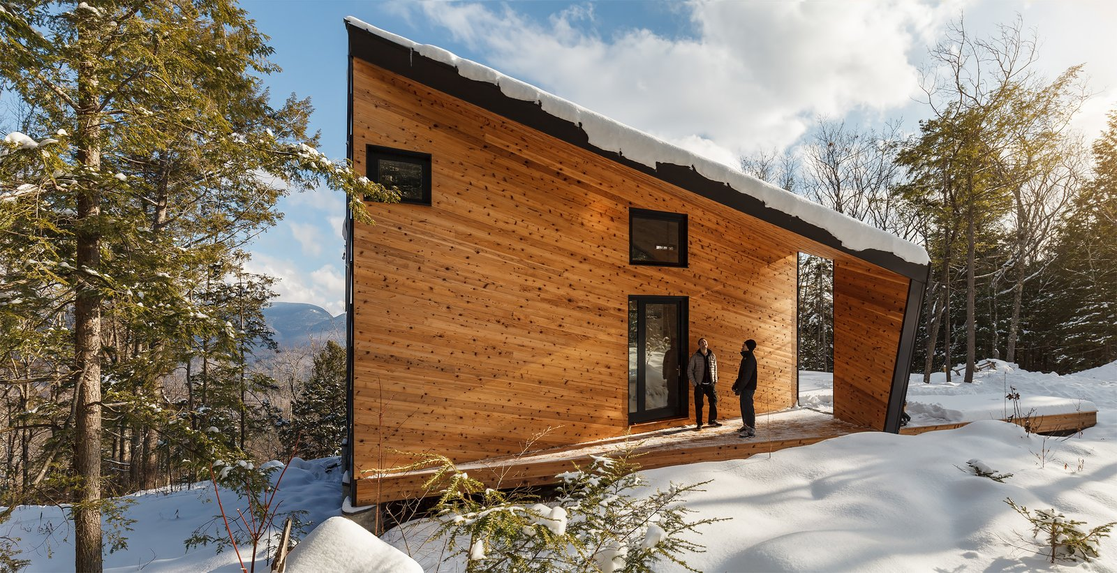 Exterior, Metal Siding Material, Wood Siding Material, Prefab Building Type, and Cabin Building Type  Photo 17 of 18 in A Prefab Cabin in New Hampshire Is a Magnificent Mountain Retreat