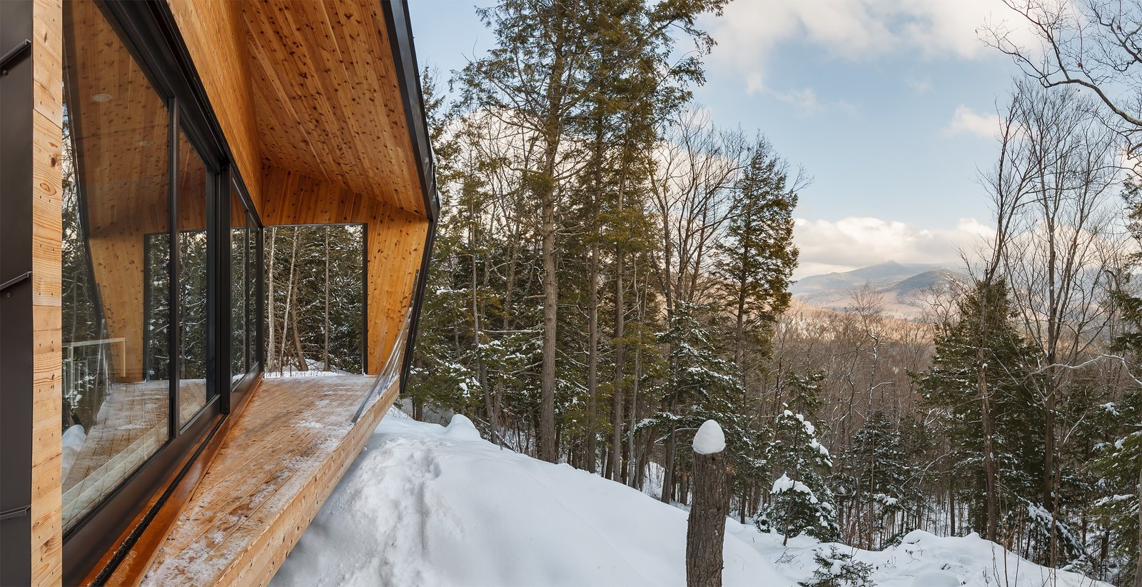 Outdoor, Wood, Woodland, Metal, and Trees  Best Outdoor Metal Woodland Photos from A Prefab Cabin in New Hampshire Is a Magnificent Mountain Retreat