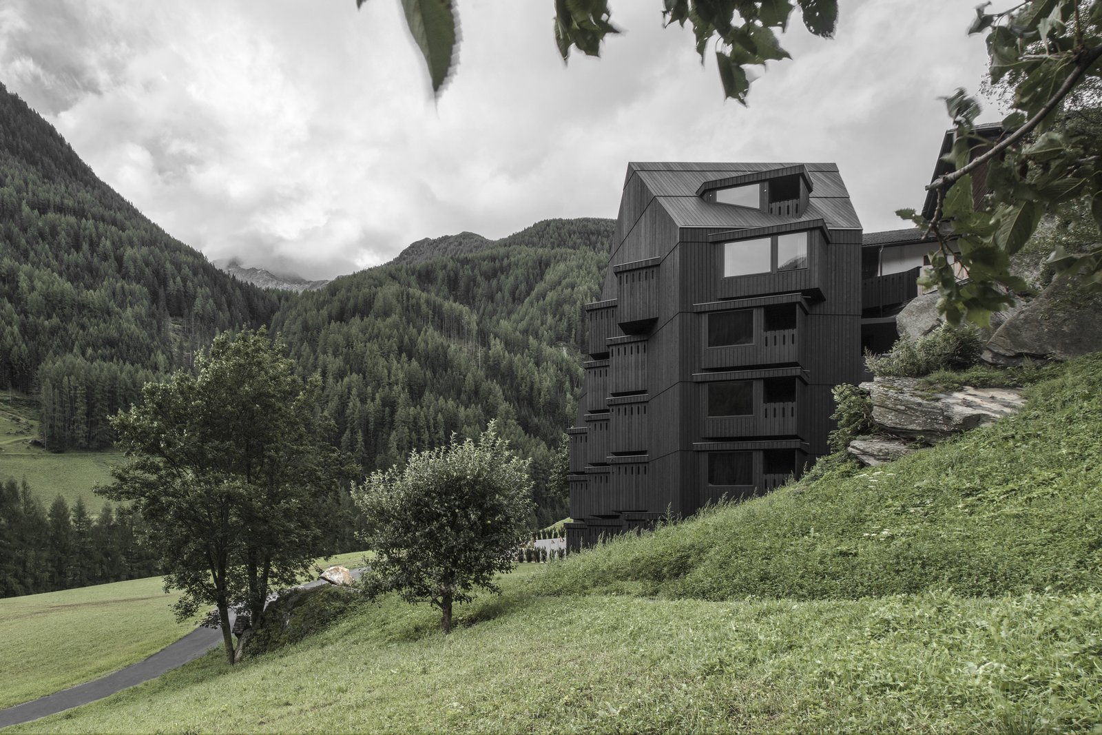 Exterior, Wood Siding Material, and Glass Siding Material  Photo 1 of 9 in A Dramatic Hotel in Northern Italy Is a Hiker's Refuge