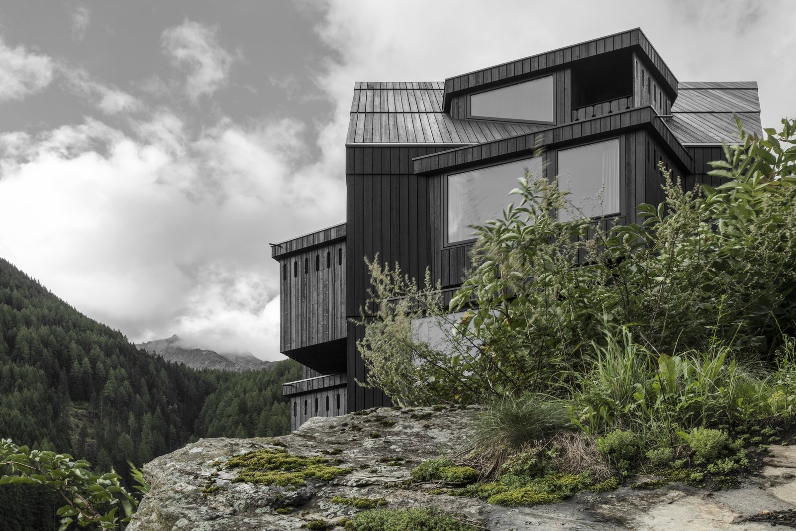 Exterior, Glass Siding Material, and Wood Siding Material  Photo 3 of 9 in A Dramatic Hotel in Northern Italy Is a Hiker's Refuge