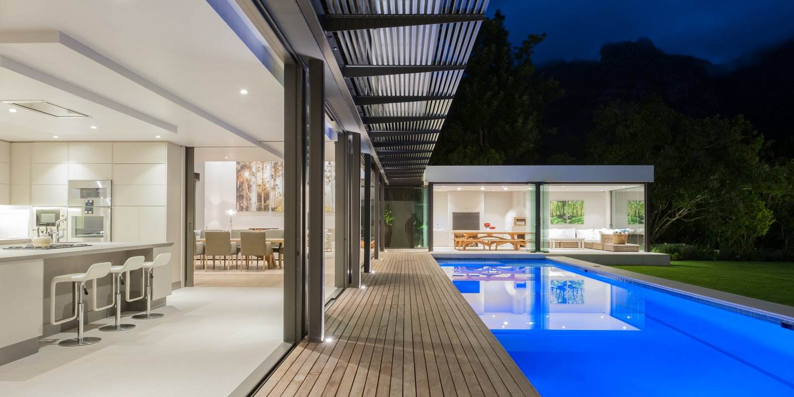 Pool and kitchen flow  Lords House by Rene Frank