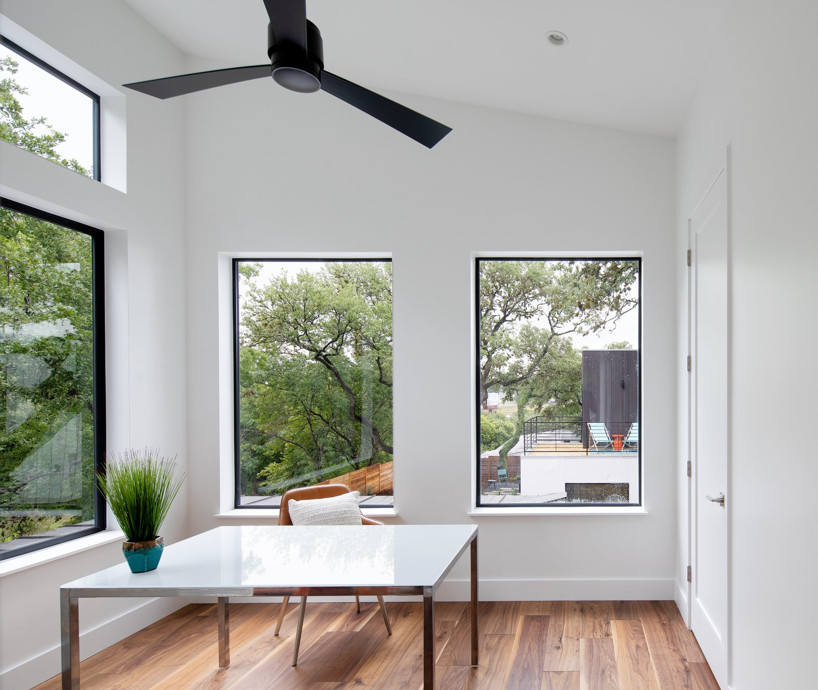Office, Medium Hardwood Floor, Study Room Type, Desk, and Chair Study  Chelsea House by Davey McEathron Architecture