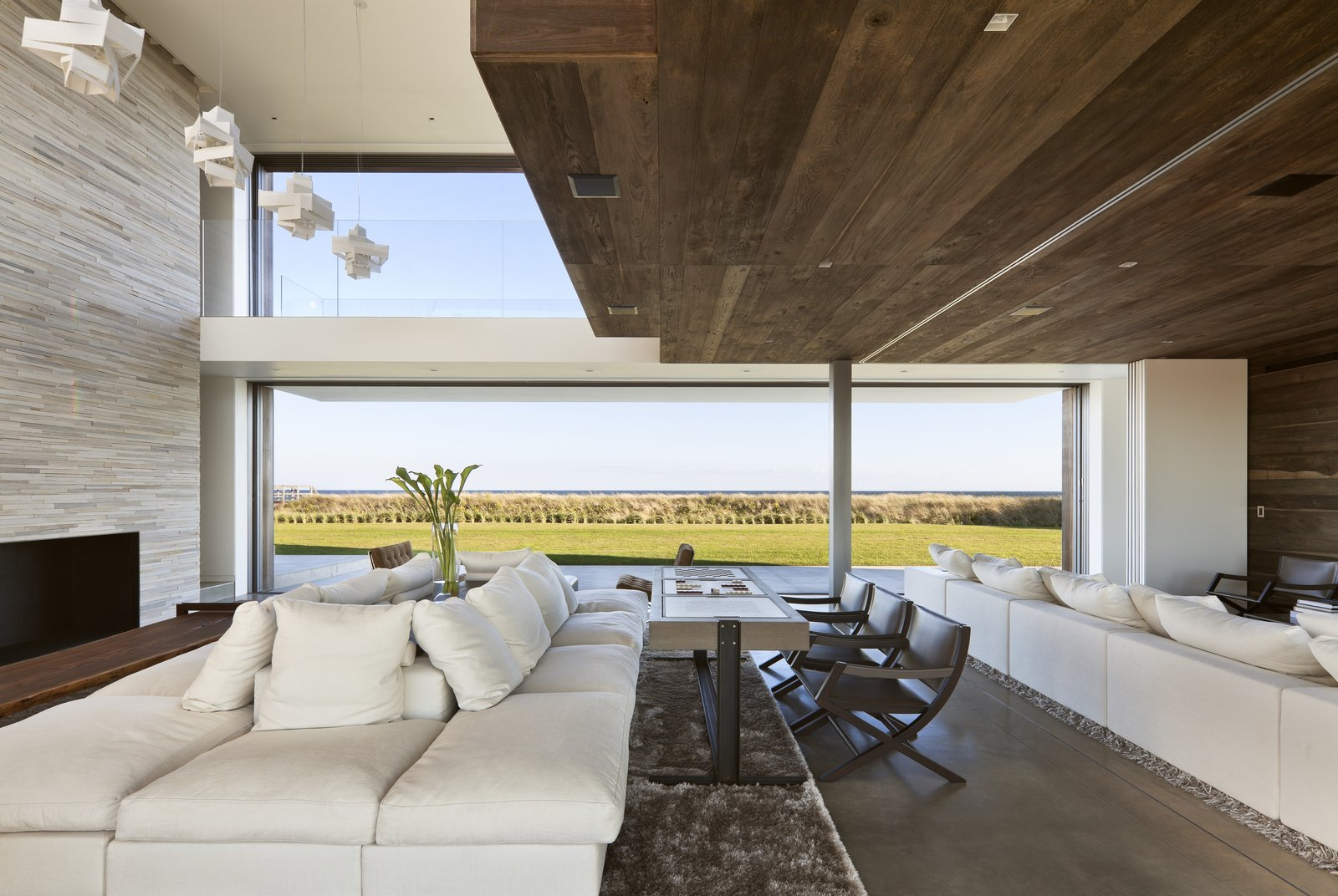 Living Room, Sectional, Sofa, Ribbon Fireplace, Ceiling Lighting, Pendant Lighting, Accent Lighting, and Recessed Lighting  Sagaponack, NY