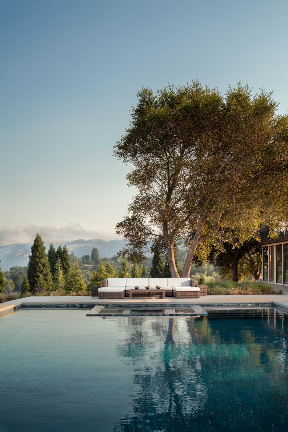 Outdoor, Back Yard, Trees, Hardscapes, Large Pools, Tubs, Shower, and Large Patio, Porch, Deck  A pool with a view by Agnieszka Jakubowicz